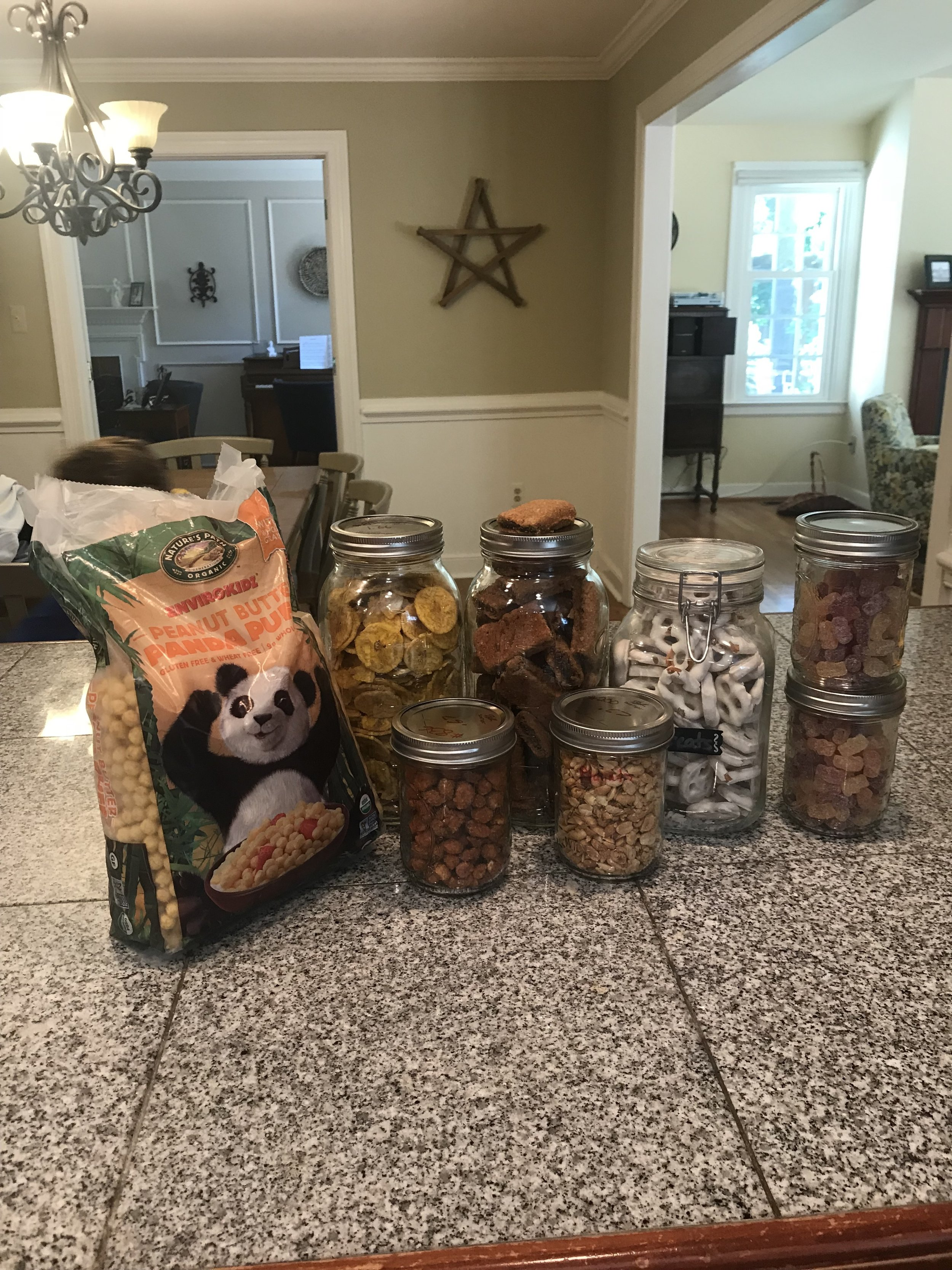 -       Part of our bulk snack haul.  We buy cereal in just a bag, when we can.  No need to have a bag and a box.  I wish more cereal was sold this way!