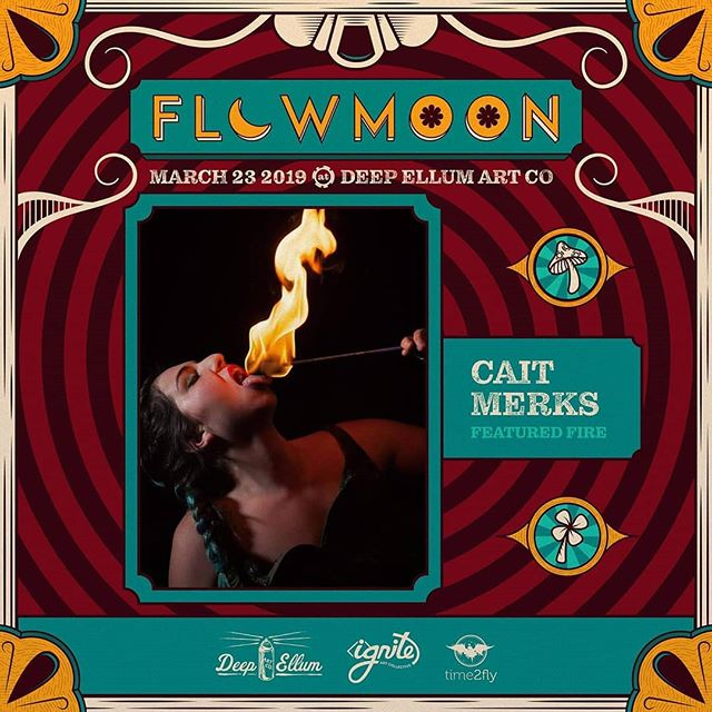 "Meet our #FeaturedFirePerformer of #Flowmoon w/ Bum Lucky, Gaddy, and Kai Castro @kaicastromusic | March 23rd, @smilez.fire.lotus ! . ""I'm Cait, I'm a fire manipulator. I've been fire eating for over 5 years. I have performed and traveled coast to coast, even met some of the best in the world! I have taught fire eating in Upstate New York and even help local friends grow here in the city of Houston. After being introduced to the art form, I've since worked with others to improve the ways that fire eating is taught to assure less accidents and risks. So my ultimate goal is to set a higher standard for fire instructing all together and give young artists an opportunity to grow the right way."" . Catch her intro and intermediate fire eating workshops the same day of Flowmoon™ at Taste Like Burning Fire Eating with Cait E Merks. More info on our Facebook page!🔥👹🔥 . #dragonarmy #igniteartco #deepellumartco #fireeater #workplayteach #firegoddess #texasburners"