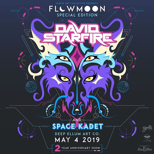 And here it is; the big announcement you've all been waiting for!!⠀ ⠀ @davidstarfire Music will be headlining our #maythefourth #Flowmoon ™, with @space_kadet_band as direct support for our 2 YEAR ANNIVERSARY!!!⠀ ⠀ It goes without saying, this will be our biggest show yet.⠀ ⠀ You👏won't👏 want👏 to👏 miss👏 this.⠀ ⠀ 😉🔥🔊⠀ https://www.facebook.com/events/1823848181076982/?ti=cl .⠀ #firespinning #firebreathing #performanceart⠀ #firepoi⠀ #dallaslife⠀ #nightlife ⠀ #dallasnightlife⠀ #deepellum⠀ #deepellumart⠀ #edm⠀ #edmfamily⠀ #edmfestival #burner