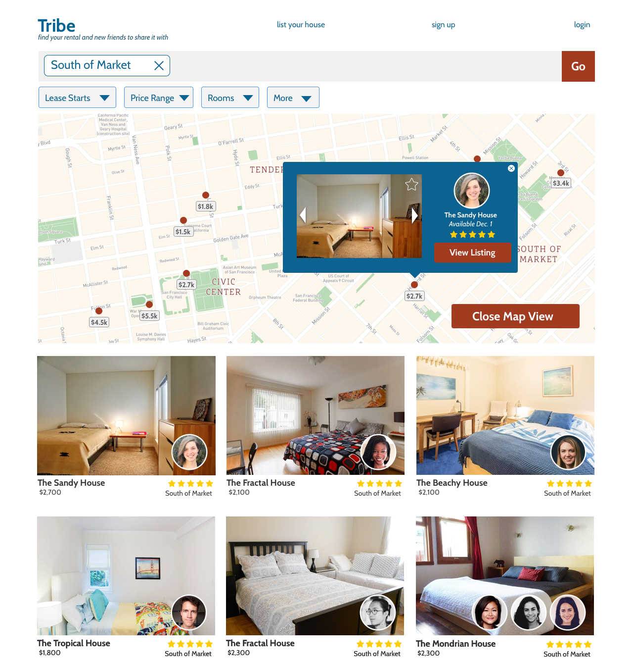 Map View Search Results