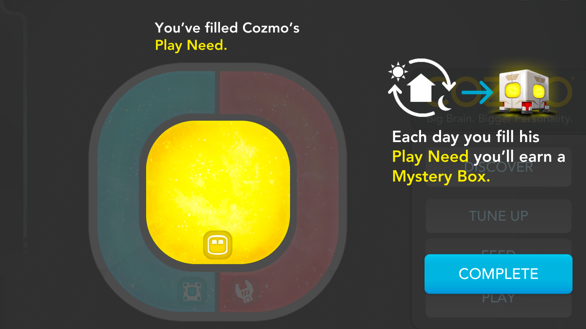 """Everyday, users had to fill Cozmo's """"Repair"""", """"Play"""" and """"Feed"""" meters"""