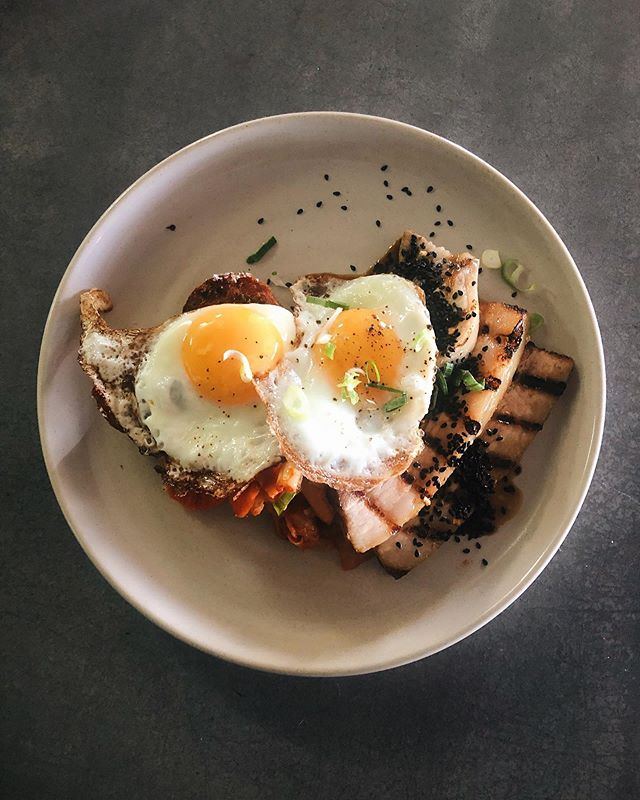 Our Maple sweet & sour pork belly with kimchi, hash and fried eggs