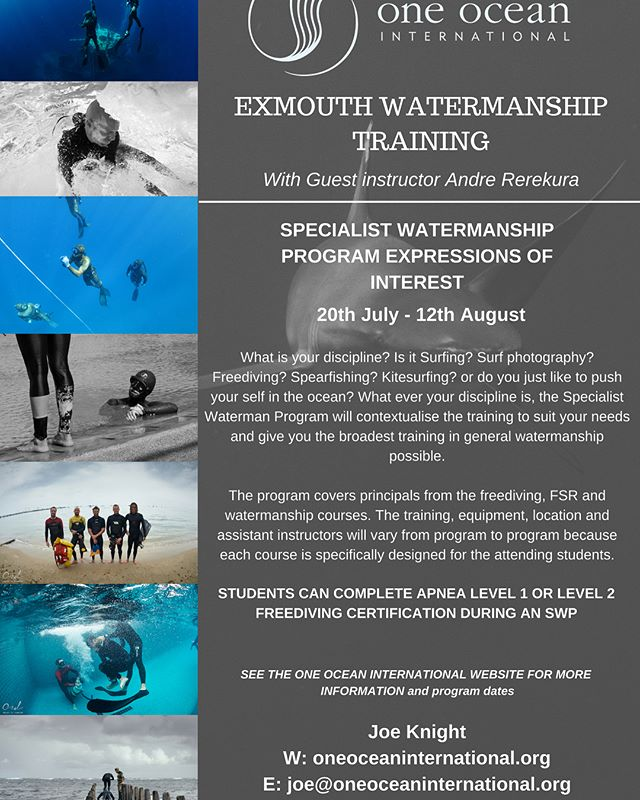 For those of you who missed out on the latest run of Freediving and Watermanship training in Exmouth, not to worry we are coming back in July and August so send us and email or give us a call tomorrow have a chat about what we are up to. We would love to hear from you. Joe: 0431101278 Joe@oneoceaninternational.org #apnea #apneaacademy #freediving #waterman #watetmanship #yoga #fitness #windsurfing #surfing #paddleboarding #spearfishing #kiteboarding #bodyboarding #oceanexplorer #bigblue #oceansafety #surflifesaving #marine #evolve #strength #mentalhealth #mind #mindfulness #explore #discover #train #education #freediveearth #madeofocean