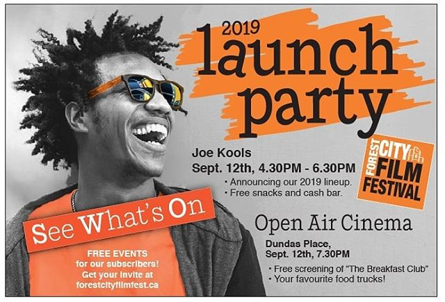 Excited to hear about our lineup this year? Join us September 12th for a sneak preview of all the films, special guests, industry events, and parties coming to you October 23-27!  We'll kick off the Season Launch with a party at @joekoolslondon, 4.30pm. Free 🍕🍕 + cash bar 🍻  We'll move to @dundas_place  for the FCFF Open Air Cinema at 7.30pm for a free screening of #TheBreakfastClub. Oh and did we mention @donutdiva1, @mybigfatfood and #GrillEm are going to be there! So bring your blankets, chairs and appetites!  Join our subscriber's list for your personal invite. Head over to the link in our bio and scroll all the way down.  #LdnOnt #ldnent #swont