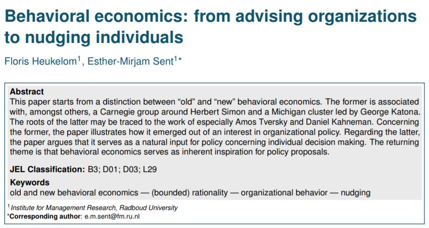 Old vs New Behavioral Economics