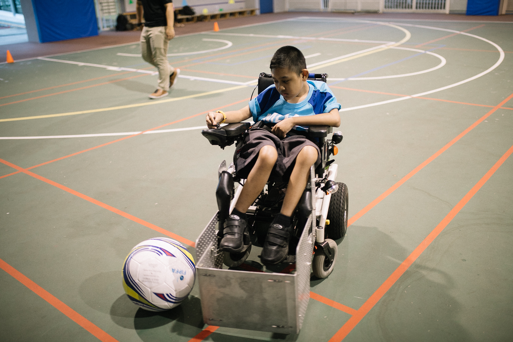 Danial at the training session for his favorite programme - Power Soccer