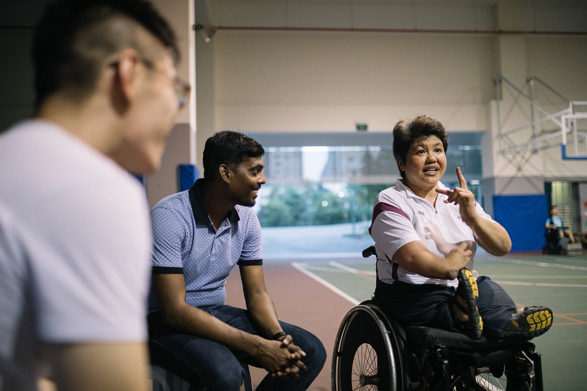 Judy beaming as she speaks to the volunteers at the centre's regular Power Soccer sessions
