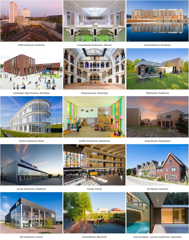 Een greep uit de opdrachtgevers waarvoor architectuurfotograaf Rob van Esch met Ruimtes in Beeld de afgelopen jaren werkte.
