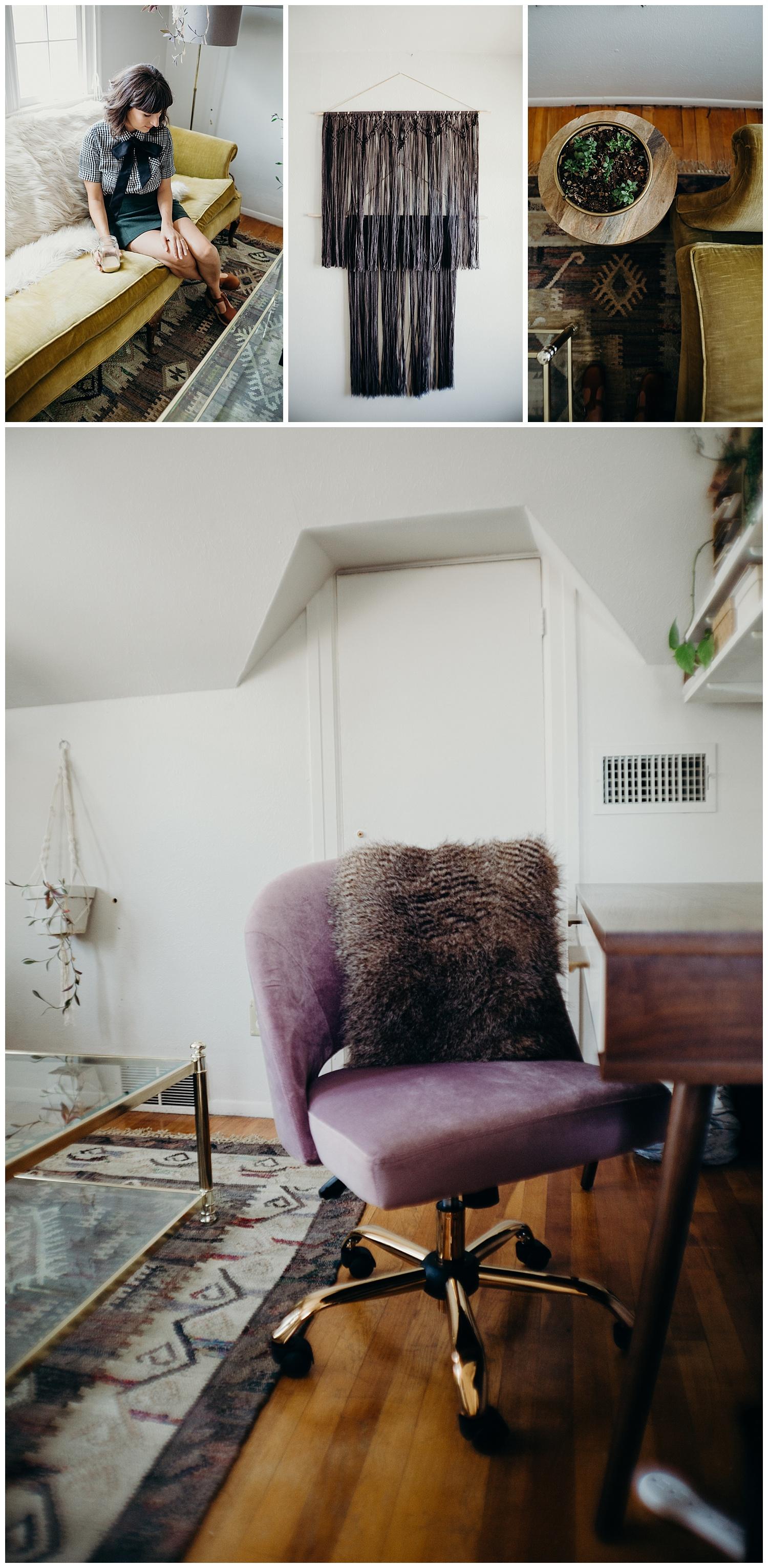 World Market Velvet Chair and Rug