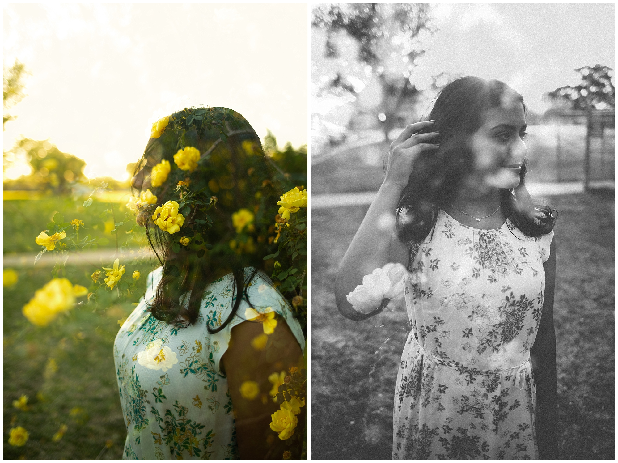double exposure senior session at an arboretum