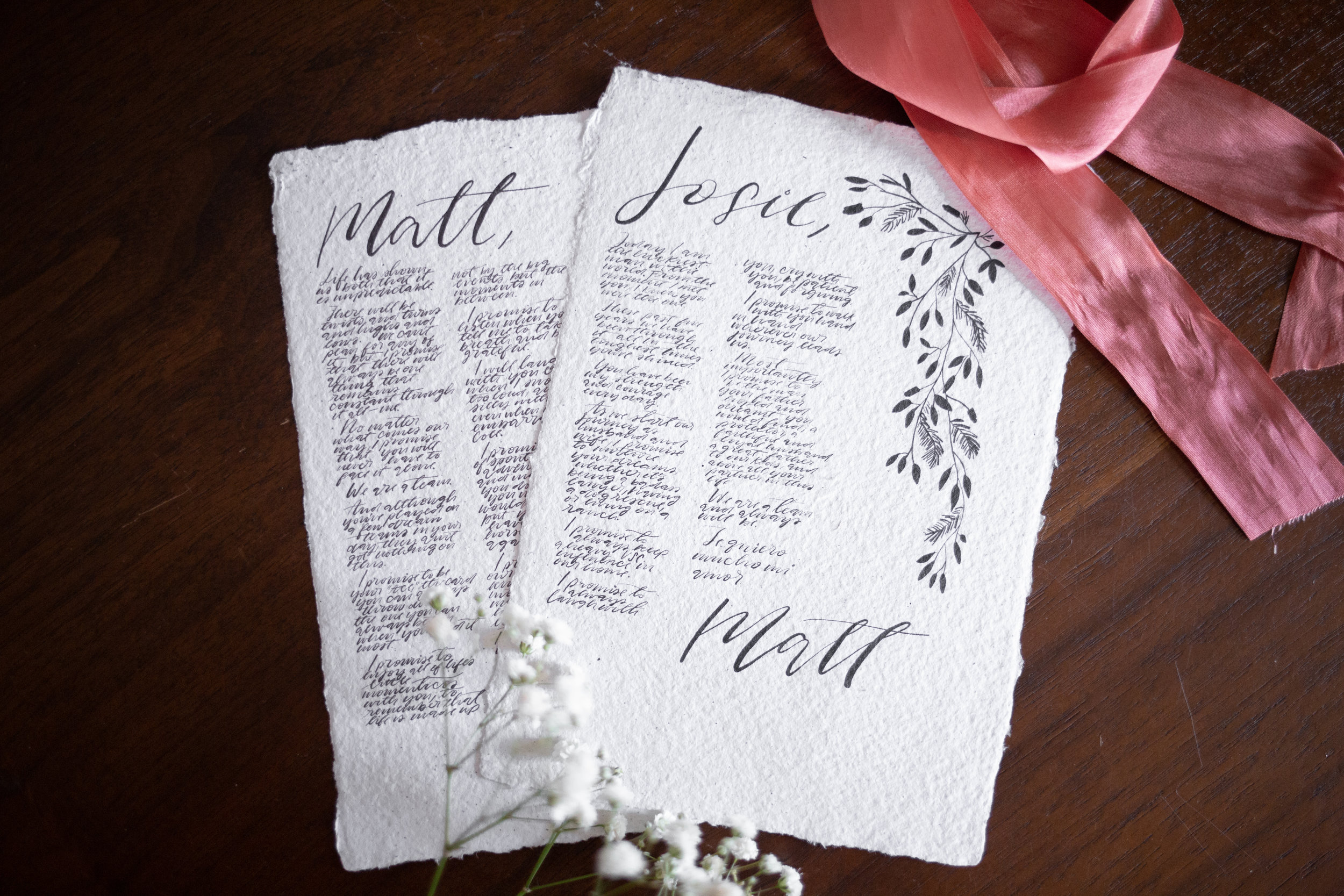 Wedding Vows in Modern Calligraphy on Handmade Paper