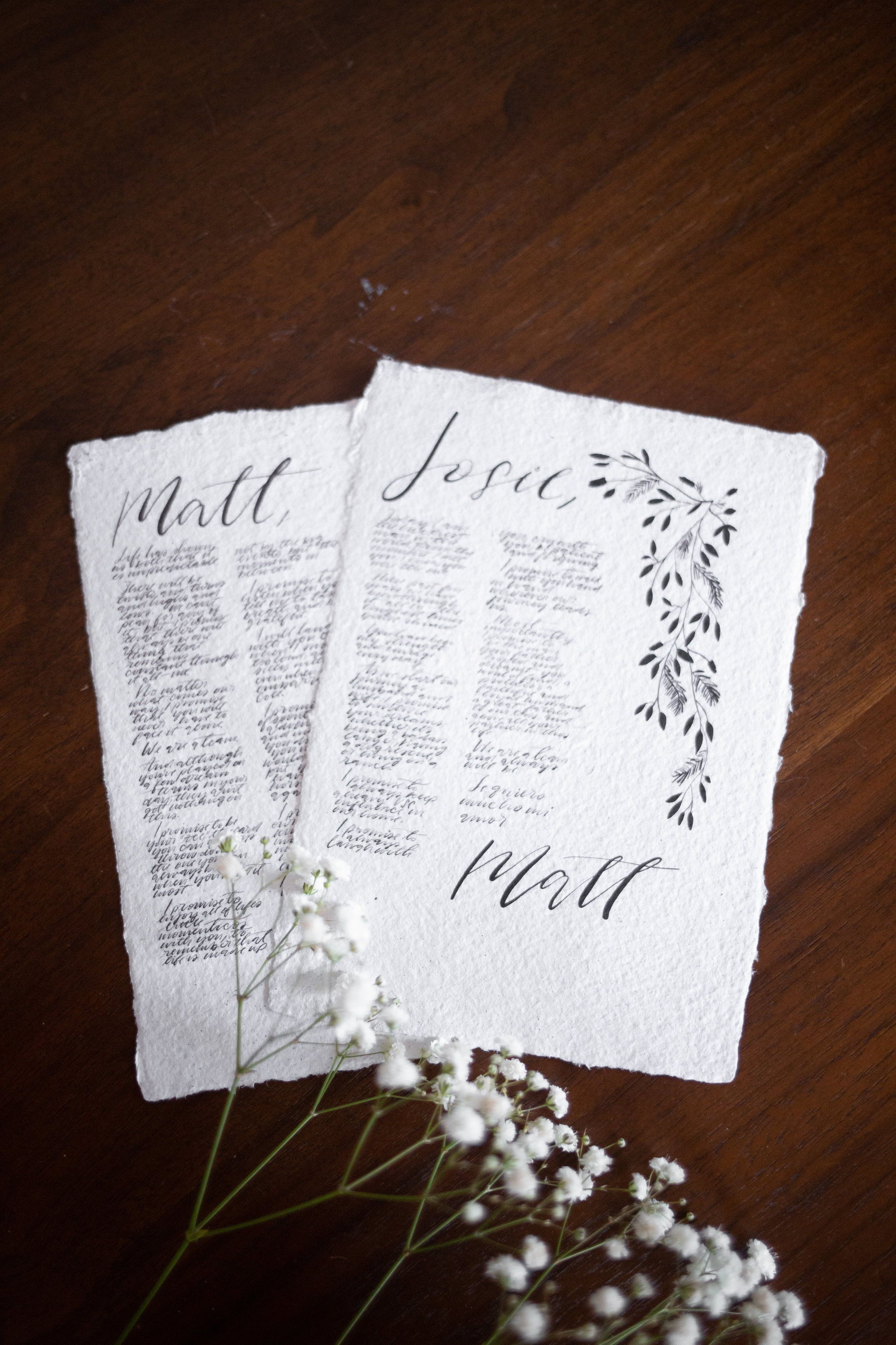 Handmade Love - 5x7 Hand-Written Vows on Handmade Deckled Edge Cotton Paper | Frame not included$195