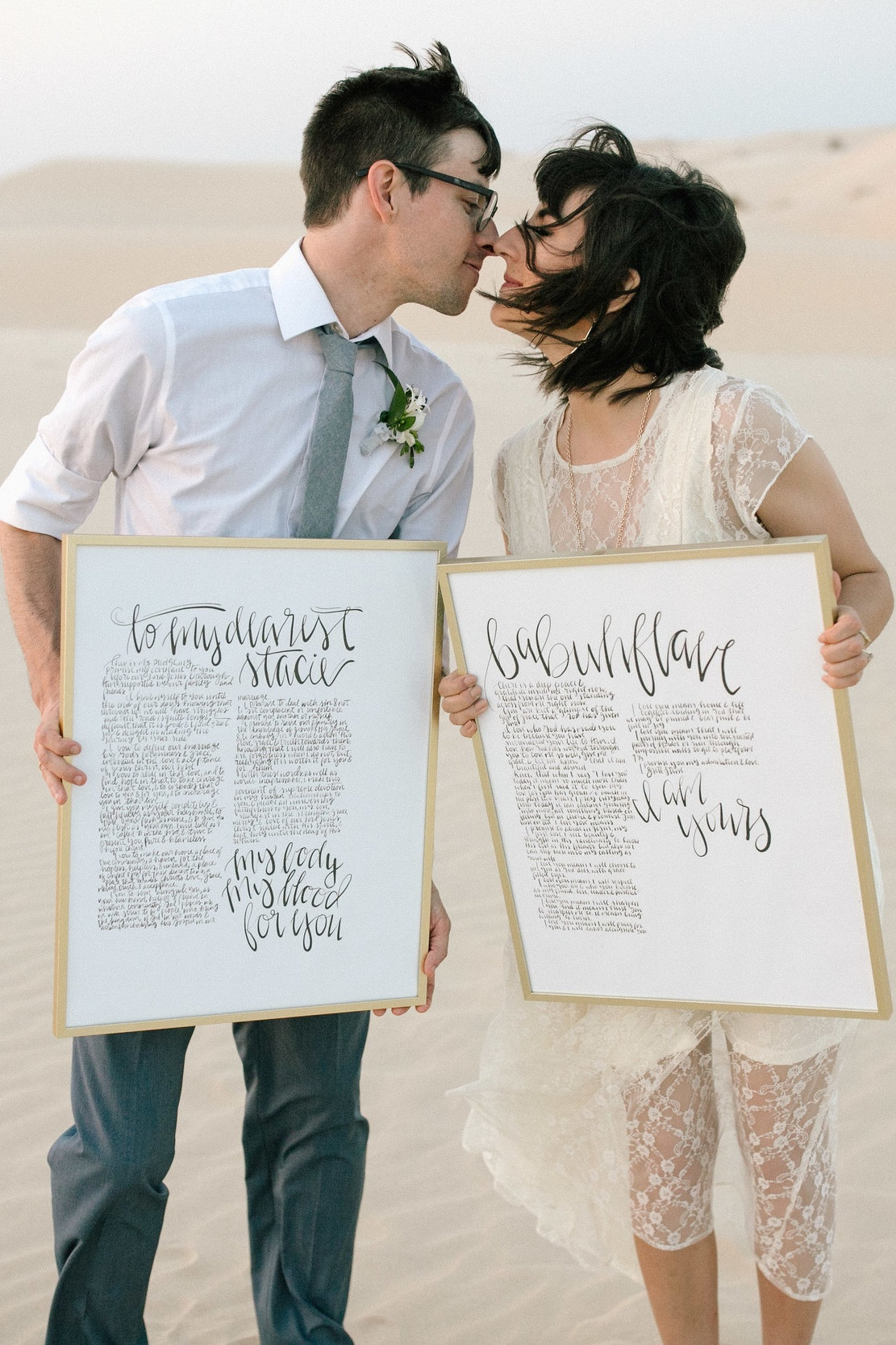 The Original - 16x20 HandWritten Vows on Archival Paper in a Modern Gold Frame
