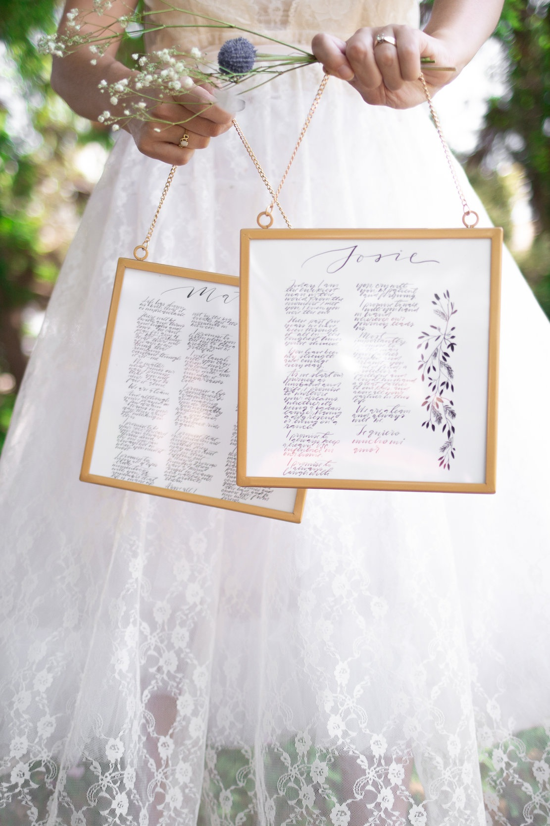 The Cute Meet - Hand-written vows | 8x8 Square Gold Frames hanging side by side; Clear Plastic, not Glass$235