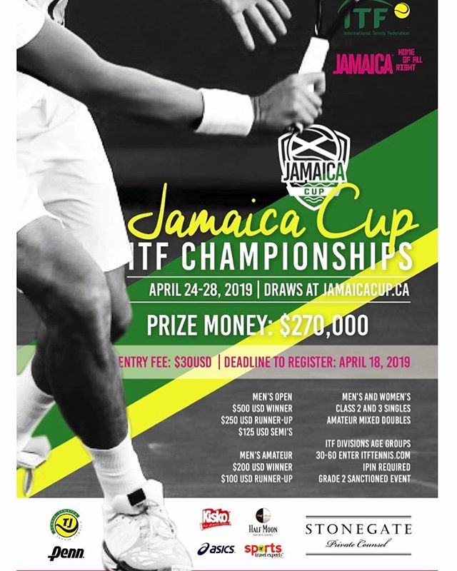 Join us April 24-28, 2019 for the annual Jamaica Cup ITF Championships🎾  Men's and Women's events available- $270,000 in cash prizes up for grabs!! The deadline to enter is April 18. Tournament draws and more information can be found at jamaicacup.ca