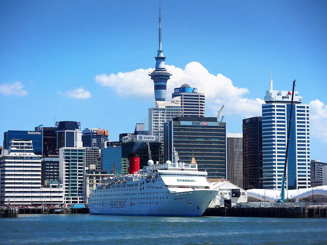 Peace Boat at Auckland Harbour by Edu Villa