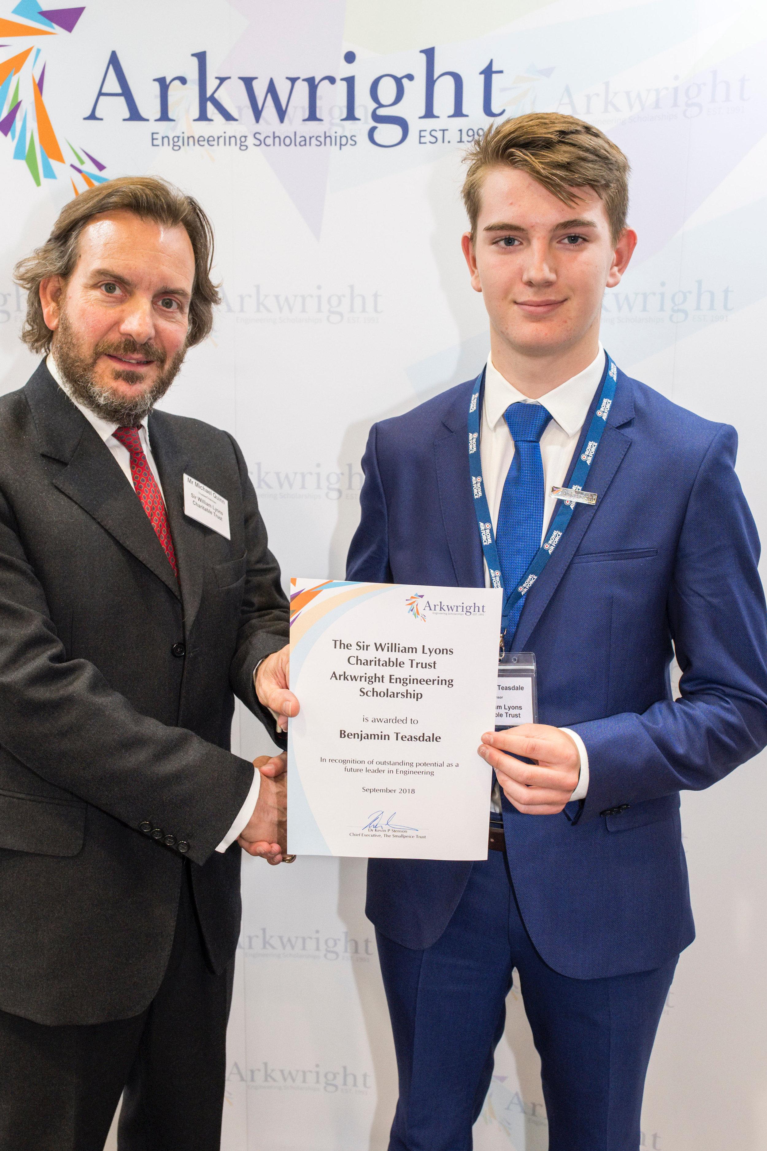 Ben Teasdale receiving his certificate
