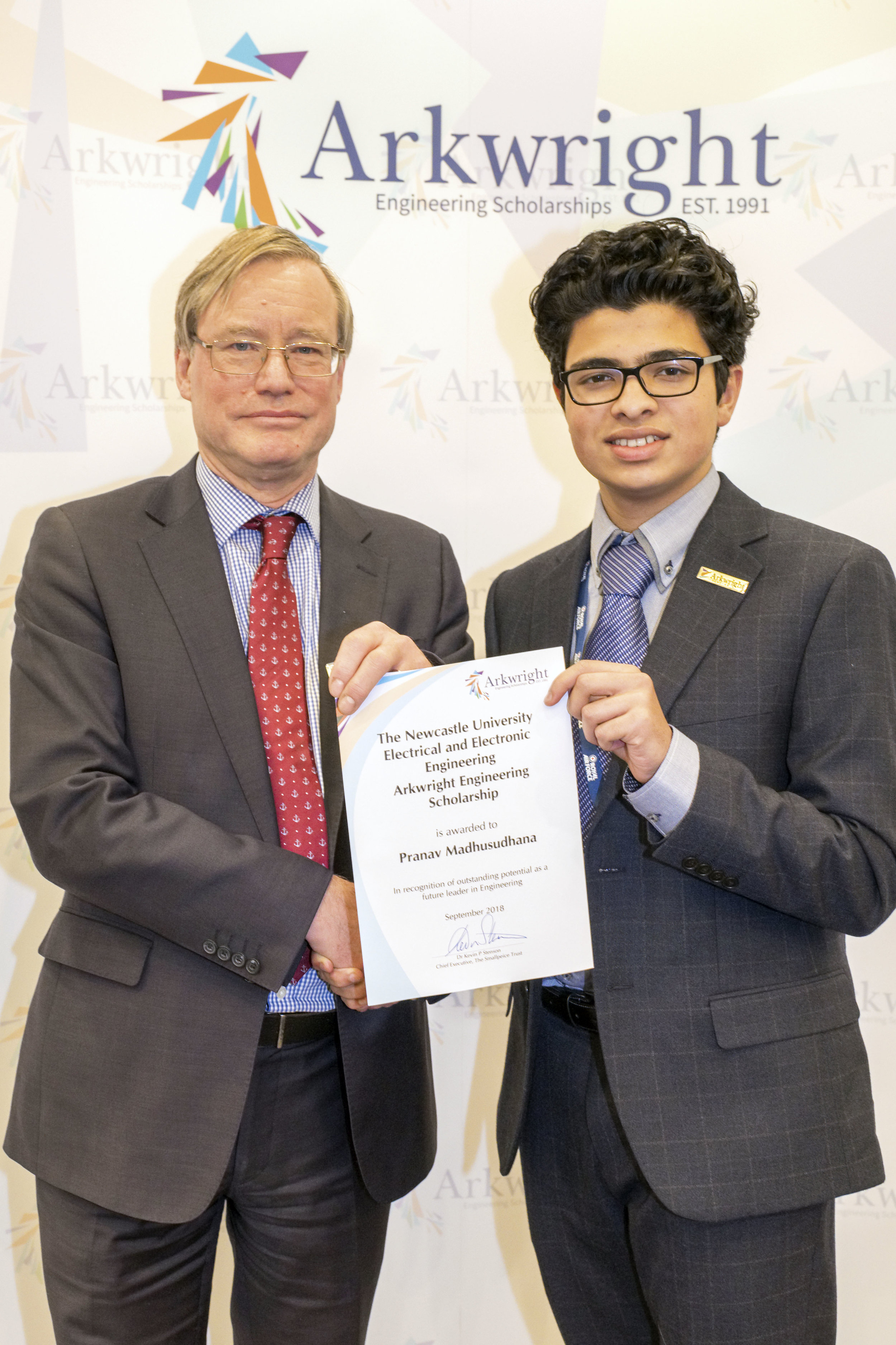 Pranav Madhusudhana receiving his certificate