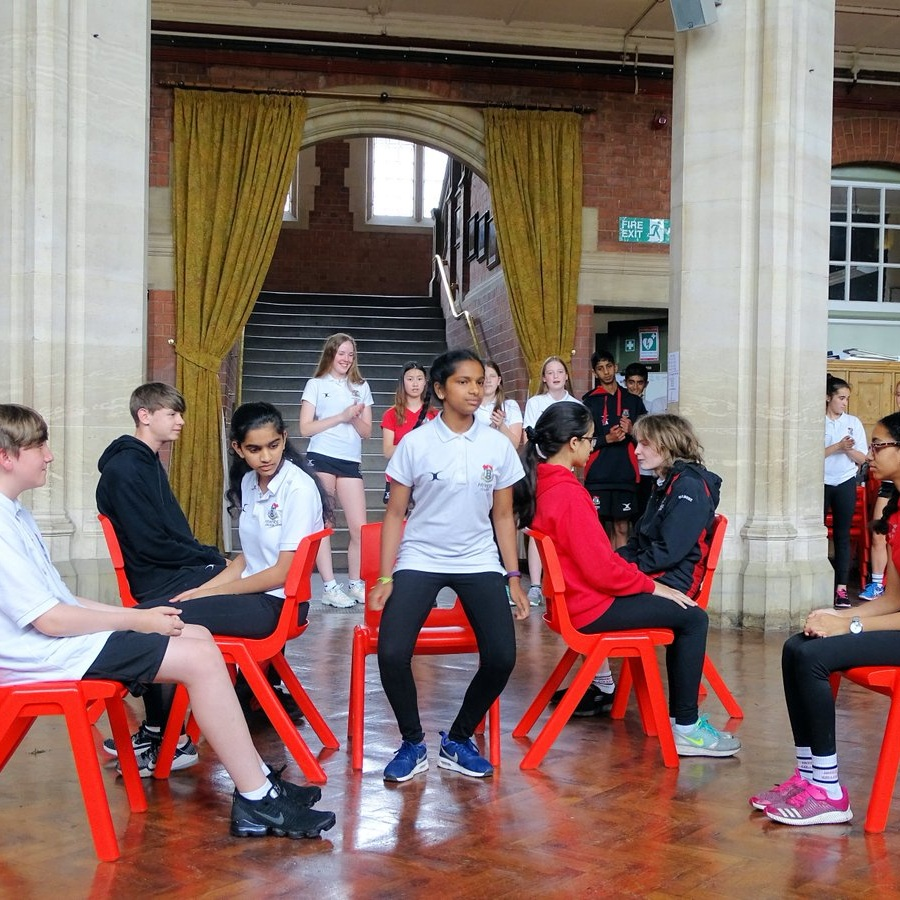 Year 9 performed their 'stomp' dance routines to a crowd of Year 7s and staff.