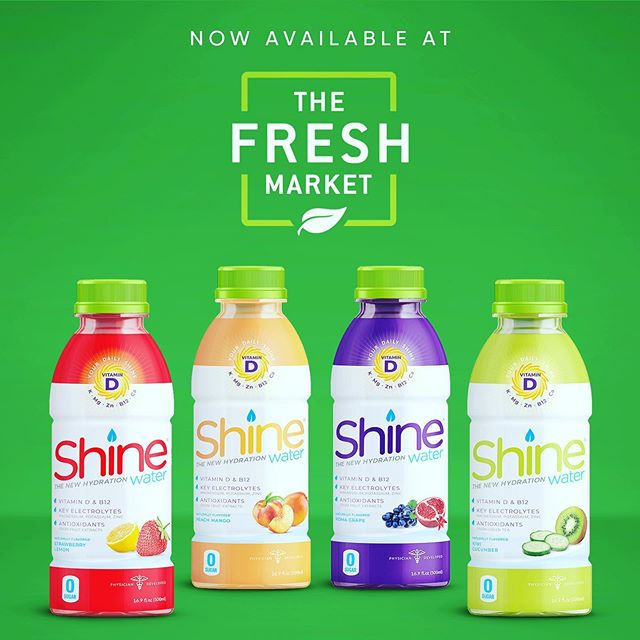 Now available and on sale at all @thefreshmarket locations!! Grab some Shine...and hydrate your way through this holiday weekend. 💪🏼☀️🇺🇸 #borntoshine #healthyhydration #vitamind #electrolytes #nosugar #freshmarket #naturalproducts #chs