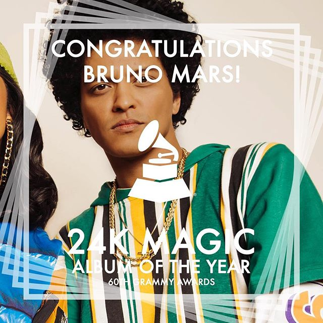 Big winner of the night. 24k Magic won Album of the Year and @brunomars goes home with 6 Grammy for all the nods he received. 💪🏽 🎵 🏆 • • • • #music #2018grammys #grammys #dancemusic #dance #90s #throwback #brunomars #90skid #songoftheyear #recordingacademy #singer #singers #songwriter #songwriters #hawaii #rnb #singersongwriter #producer #musicproducer #musicproduction #musicproducers #hawaiin #rhythmandblues #popmusic #songs #song #rnb #mars #bruno