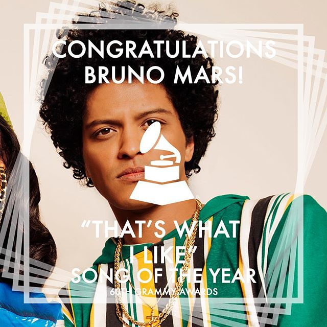 Congrats @brunomars for the Song of the Year win - Was it what you expected? • • • • #music #2018grammys #grammys #dancemusic #dance #90s #throwback #brunomars #90skid #songoftheyear #recordingacademy #singer #singers #songwriter #songwriters #hawaii #rnb #singersongwriter #producer #musicproducer #musicproduction #musicproducers #hawaiin #rhythmandblues #popmusic #songs #song #rnb #mars #bruno #24kmagic