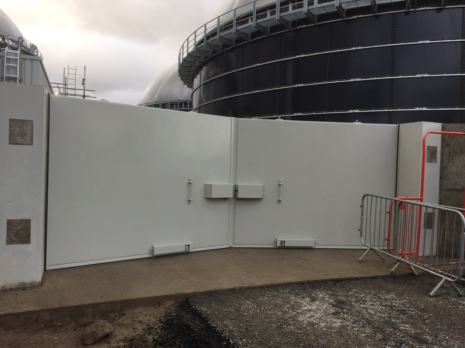 A double bund gate closed and locked. Ready  to protect the environment from any chemical  contamination.