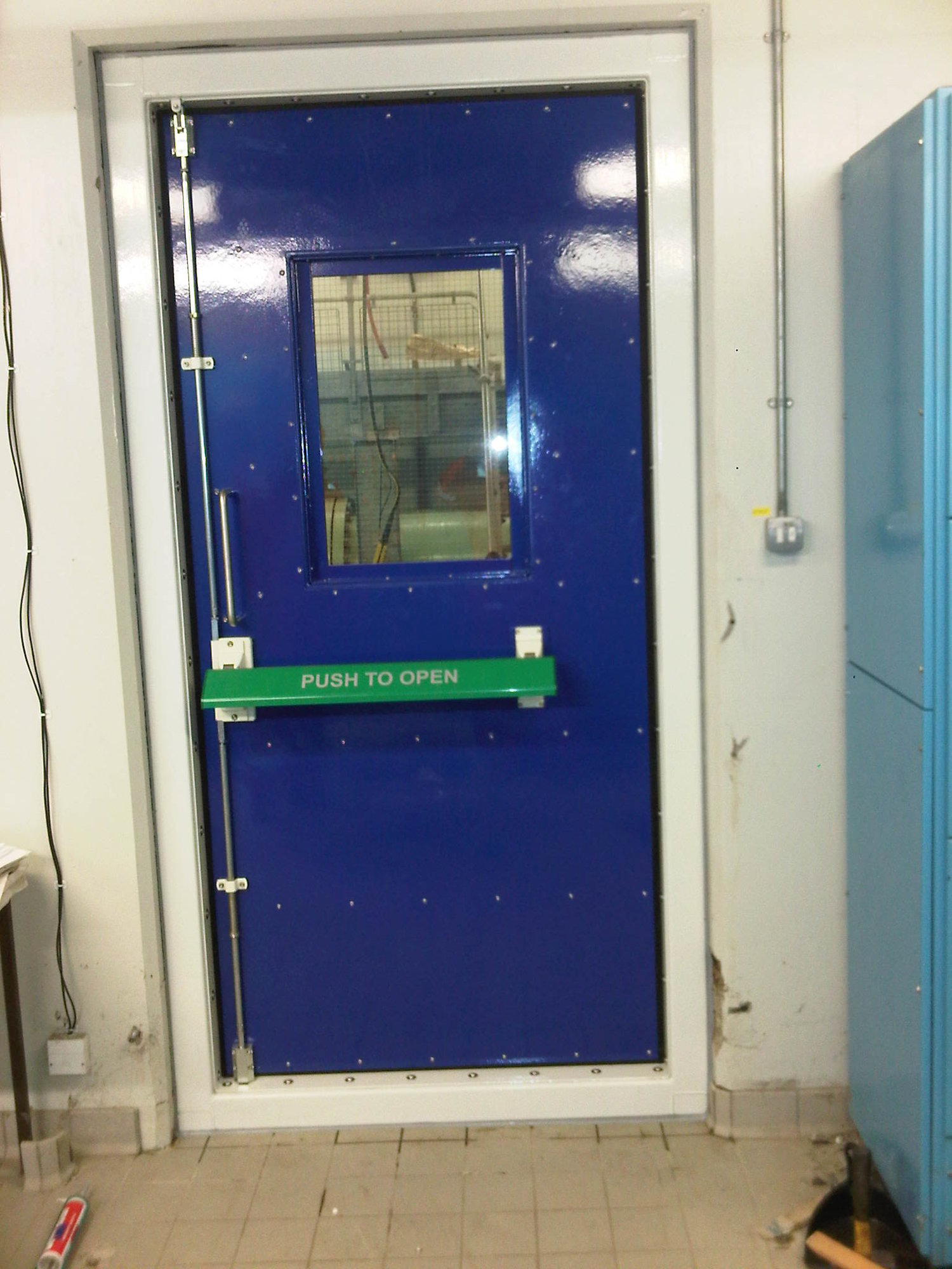 A blast door. The 1st defence against explosions.  Protecting people who work in dangerous environments.