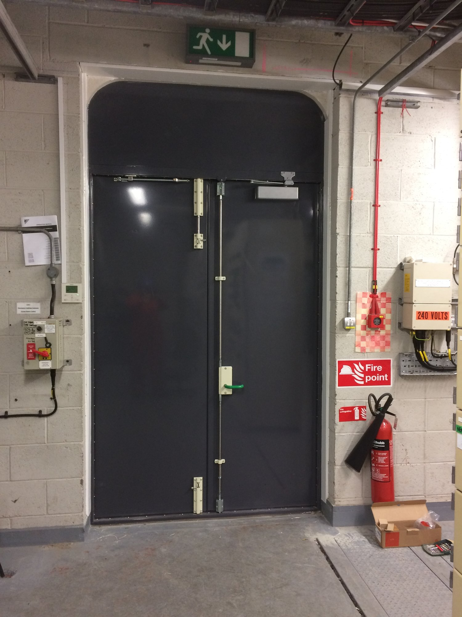 A double flood door protecting the building from any  water damage inside.