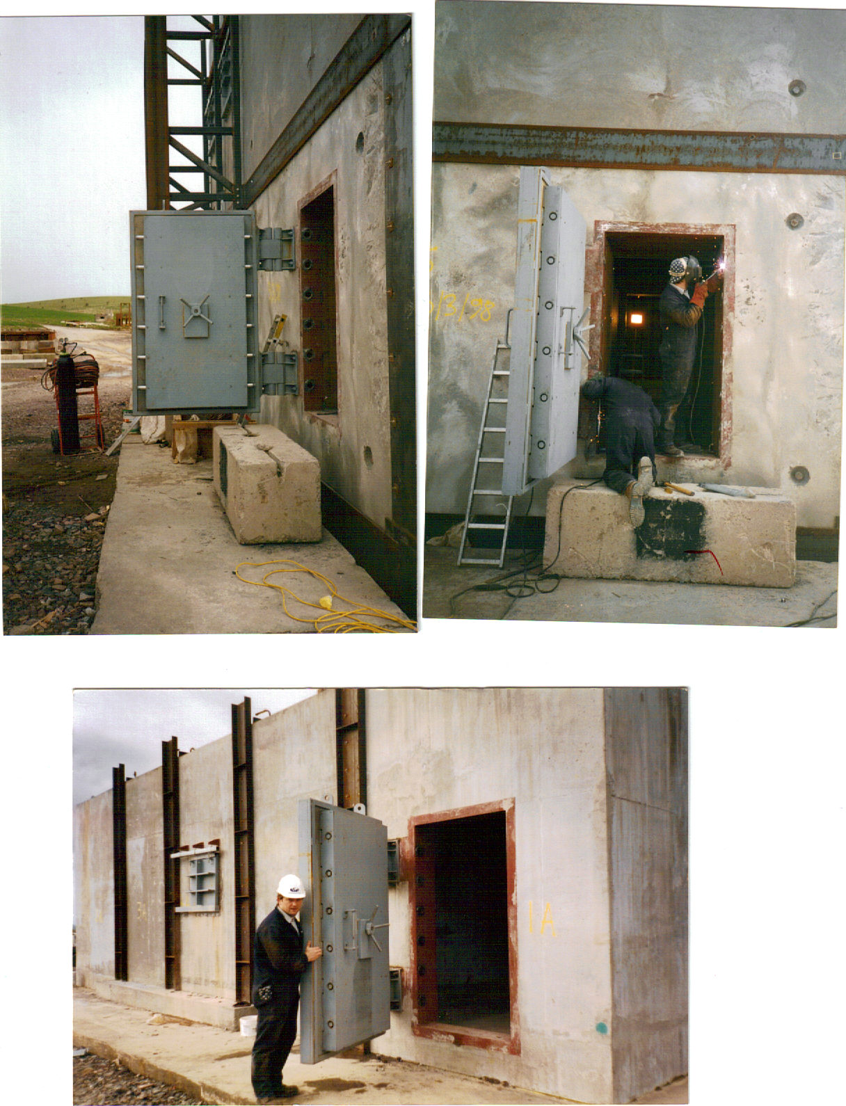 Blast doors being fitted to a building to prevent  harm to individuals during a controlled demolition.