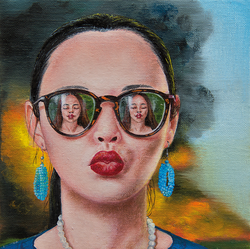 La bouche en feu  - 2015  Oil on canvas, 20 x 20cm