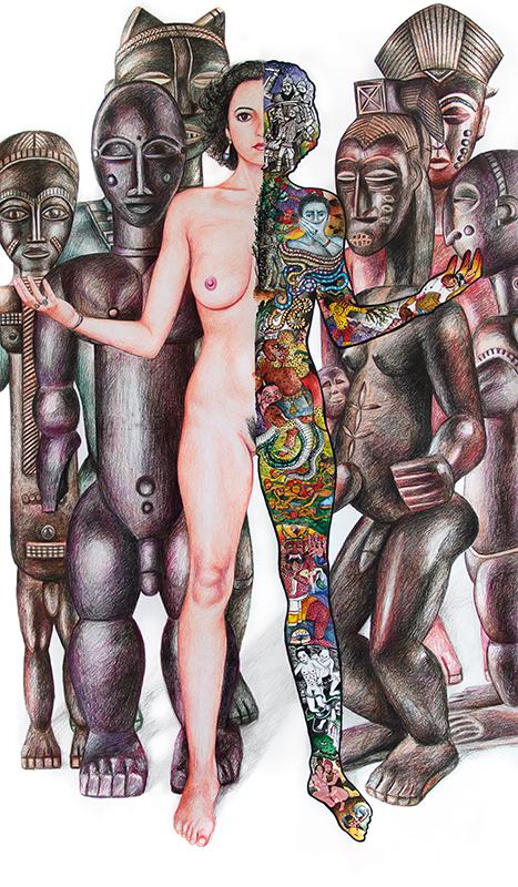 Créole  - 2017  mixed technique on paper, 140 x 80 cm