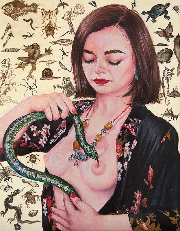 Charlène au serpent  - 2018  Oil on canvas, 35 x 27 cm