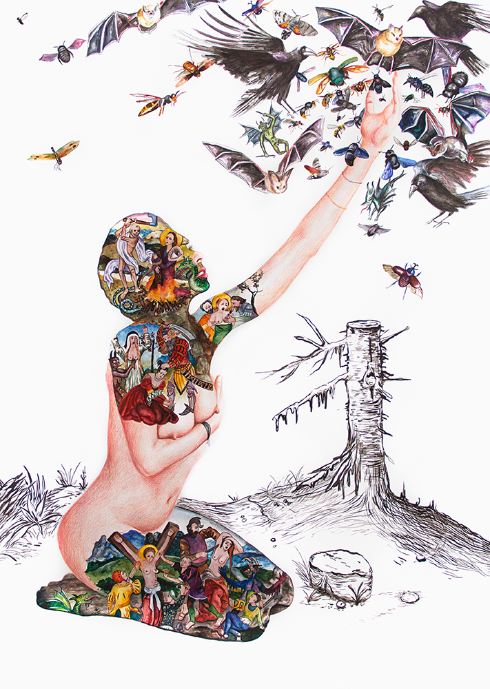 Celle qui prie ment, trahit, aime passionnément  - 2019  mixed technique on paper, 143 x 110 cm