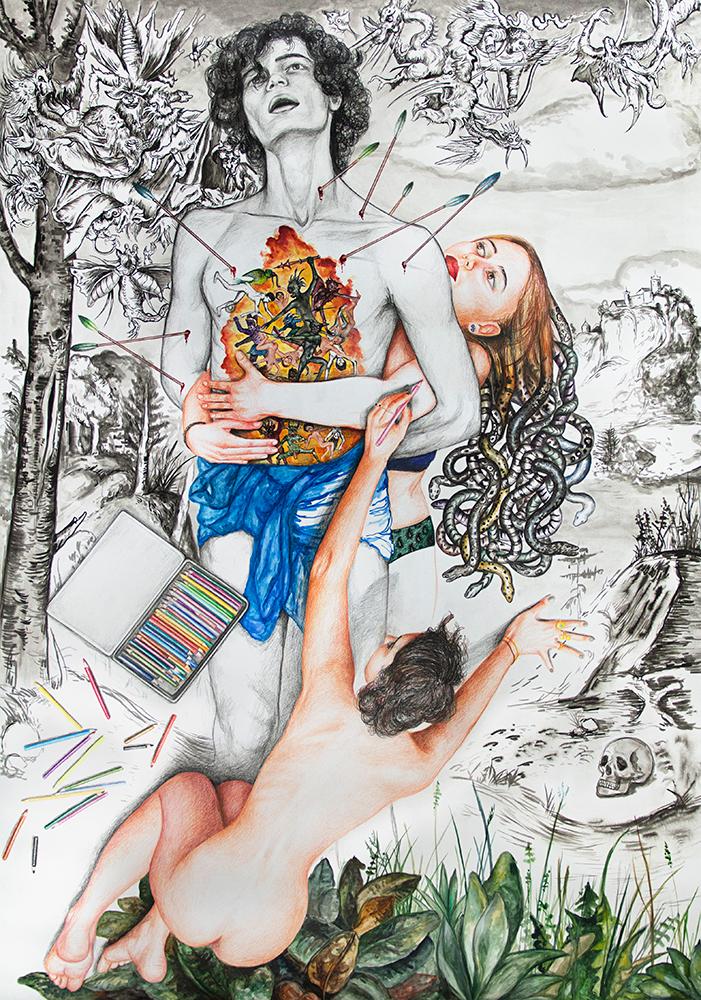 Saint Sébastient  - 2018  mixed technique on paper, 142 x 100 cm