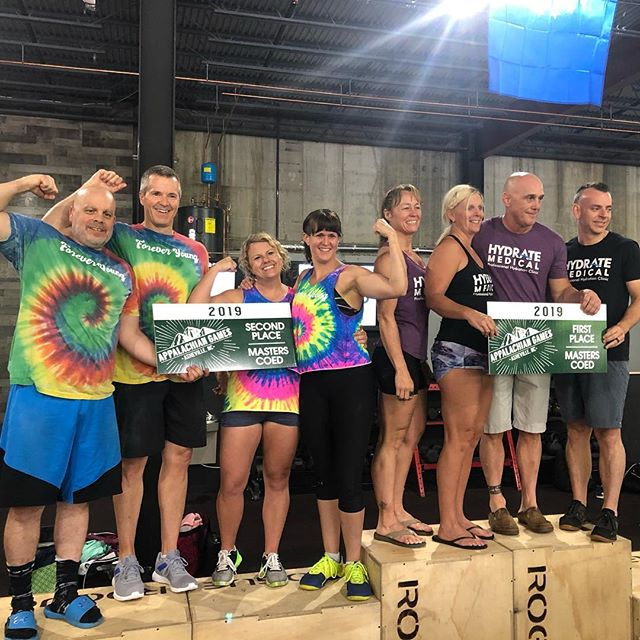 Masters CoEd podium of the 2019 App Games! Age isn't keeping these athletes from showing up, getting stronger, and giving their best - great job today teams!
