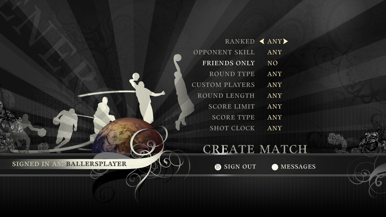 Match creation screen.
