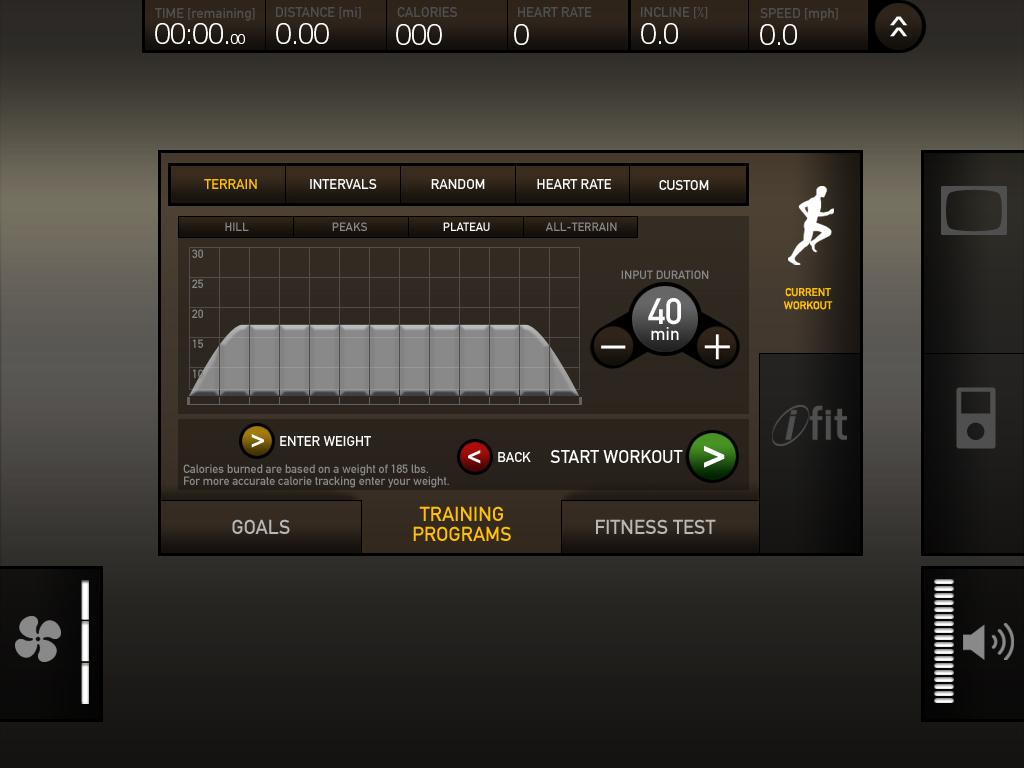 Alternate Workout Setup screen.