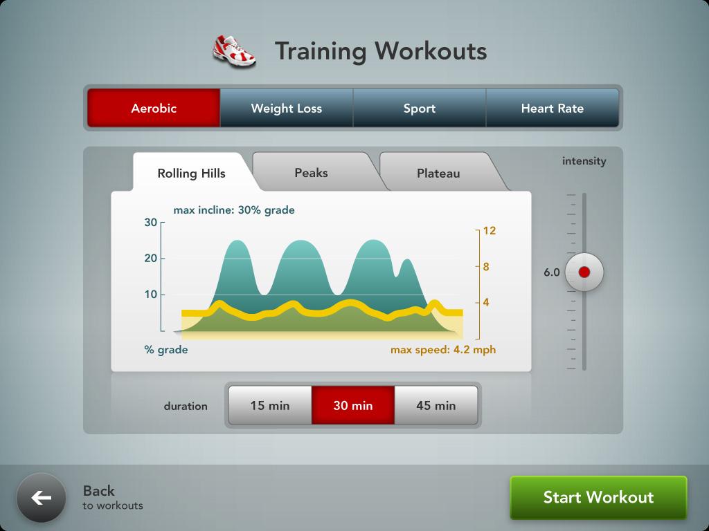 Workout Adjustment screen.