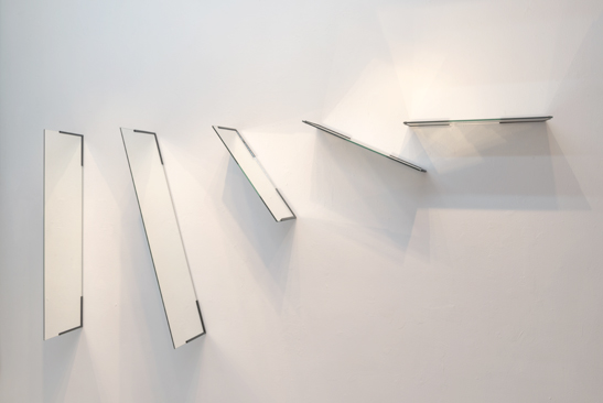 Mario Navarro,  A New Accident , 2018. Two-way mirrors, brackets, light. 39.3 x 86.6 x 9.8 inches.