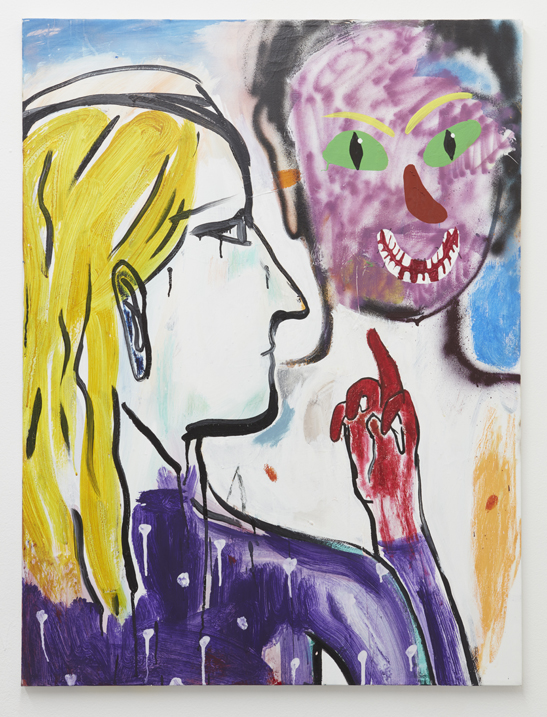 Cristina de Miguel,  Middle Finger Salute,  2016. Acrylic, flashe, spray paint and oil pastel on canvas.