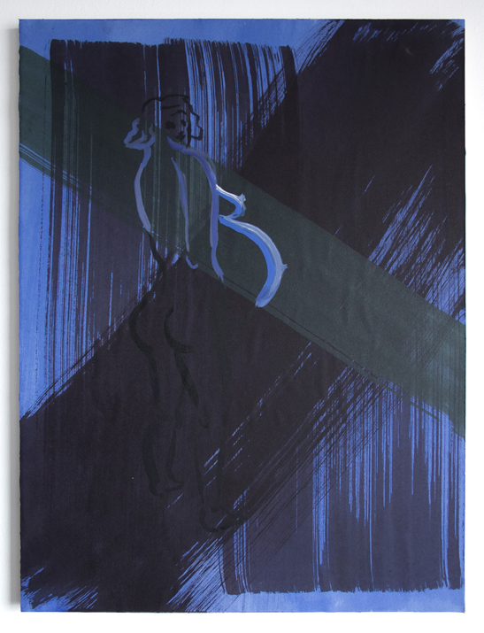 Bump Positive (Green Stripe) , 2017. Acrylic on paper mounted on wood panel. 24 x 18 inches.