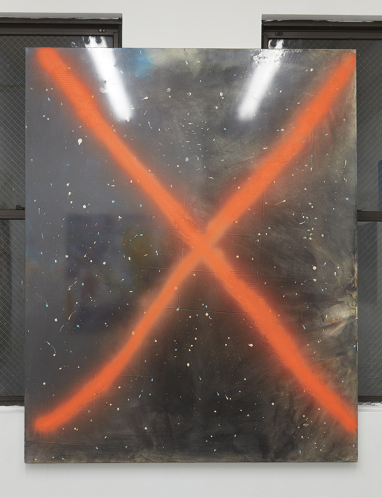 Tariku Shiferaw,  Space X,  2015. Acrylic, plastic and spray paint on canvas. 60 x 48 inches.