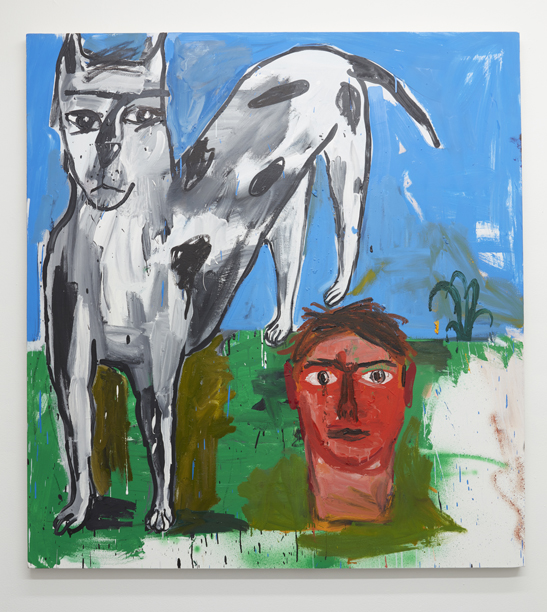 Cristina de Miguel,  Dog, Head, Plant,  2016. Oil on canvas. 54 x 48 inches.