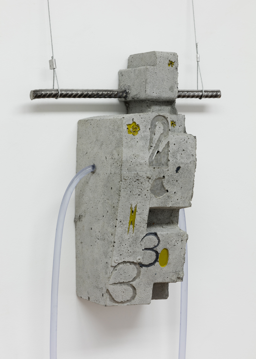 Phoebe Berglund in collaboration with Arkadiy Ryabin,  2033,  2019. Concrete, rebar, plexiglass, vinyl tubing. 13.5 x 12.5 x 5.5 inches.