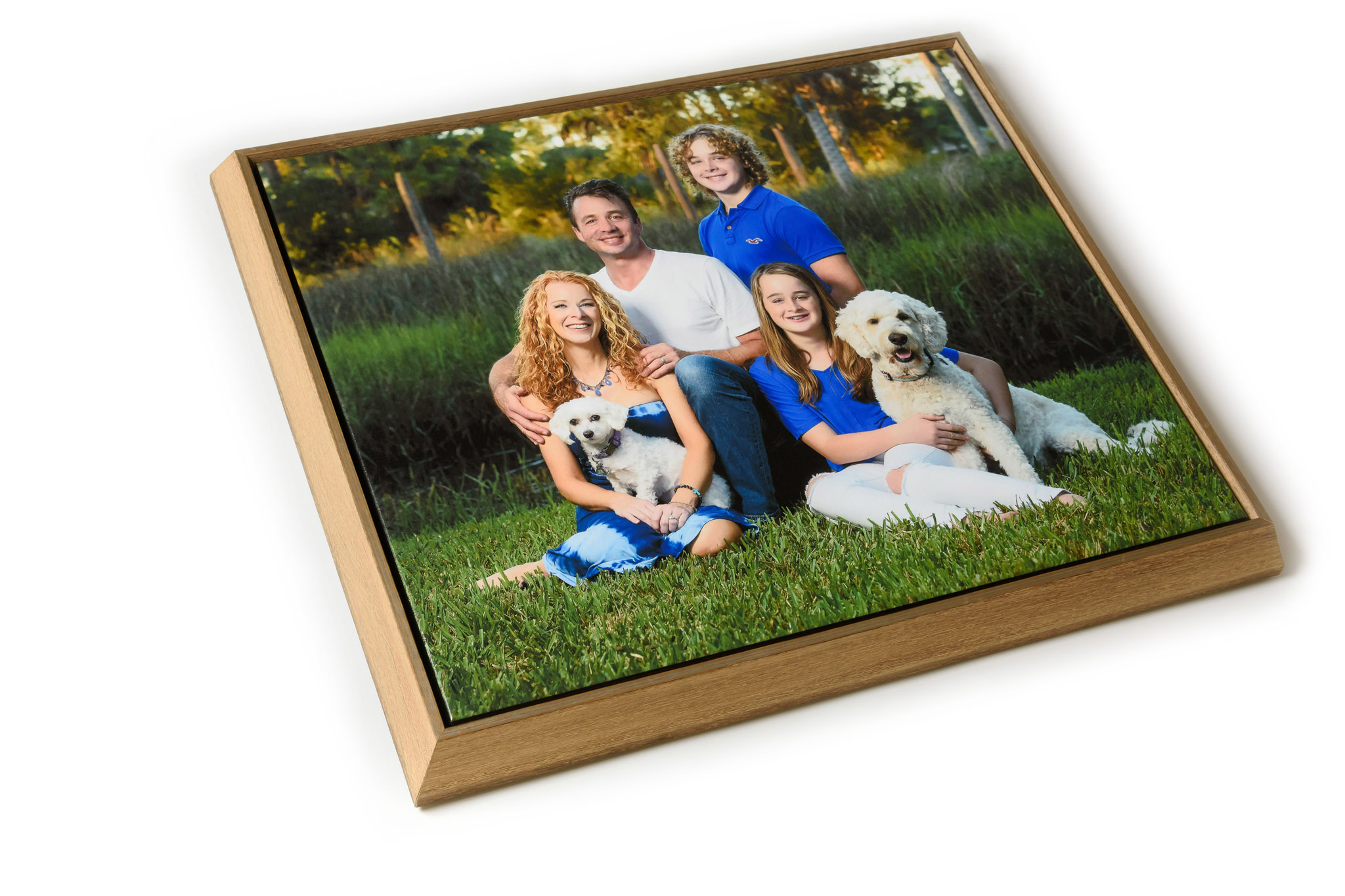 "CANVAS FLOAT FRAMES - These are my favorite new products, combining the timeless appeal of art on canvas with a casual yet sturdy distressed-wood frame that will look great with almost any décor. As the name implies, the canvas seems to ""float"" inside the frame for a unique look. It comes with heavy mounting wire and corner bumpers to protect your walls."