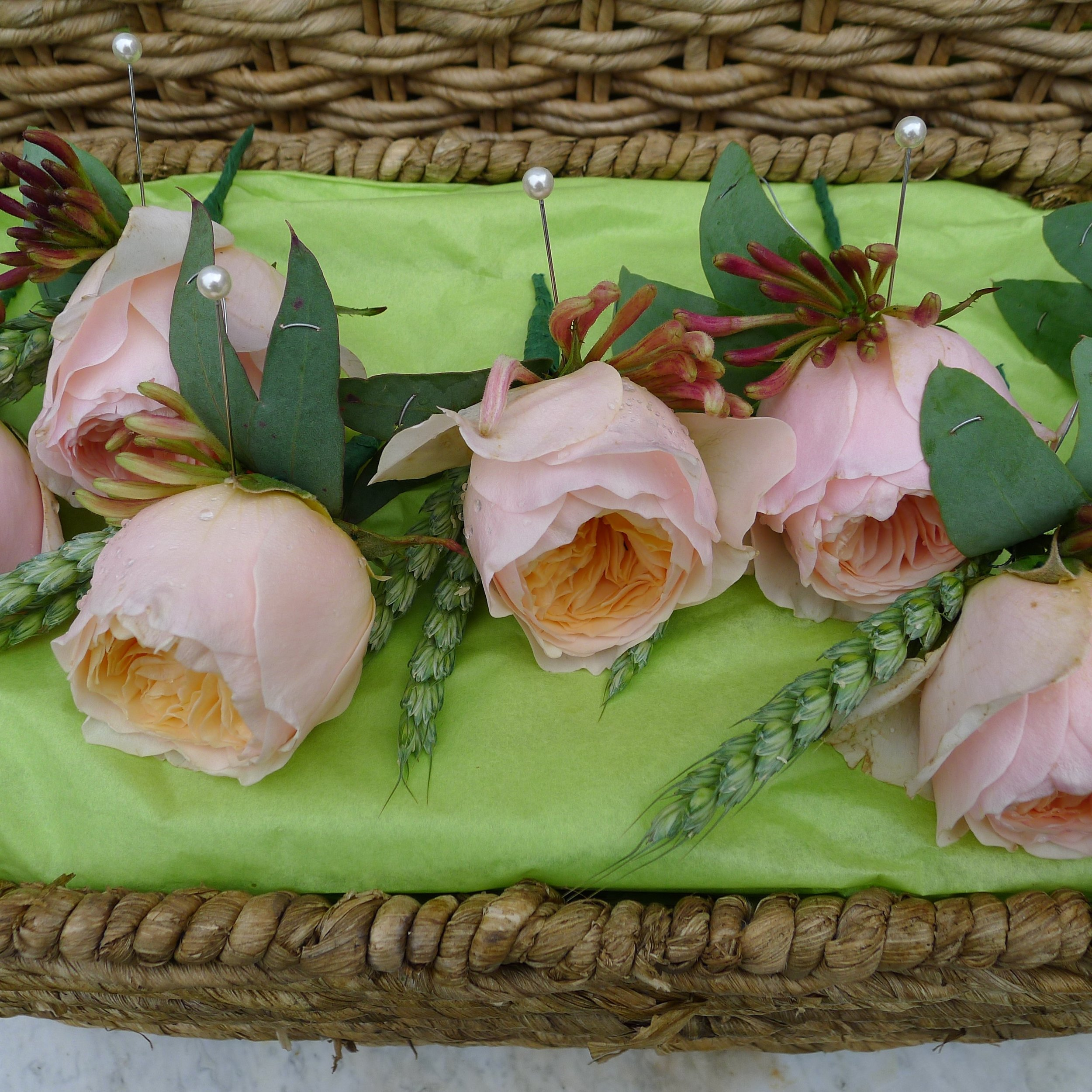 david austin rose buttonholes with wheat