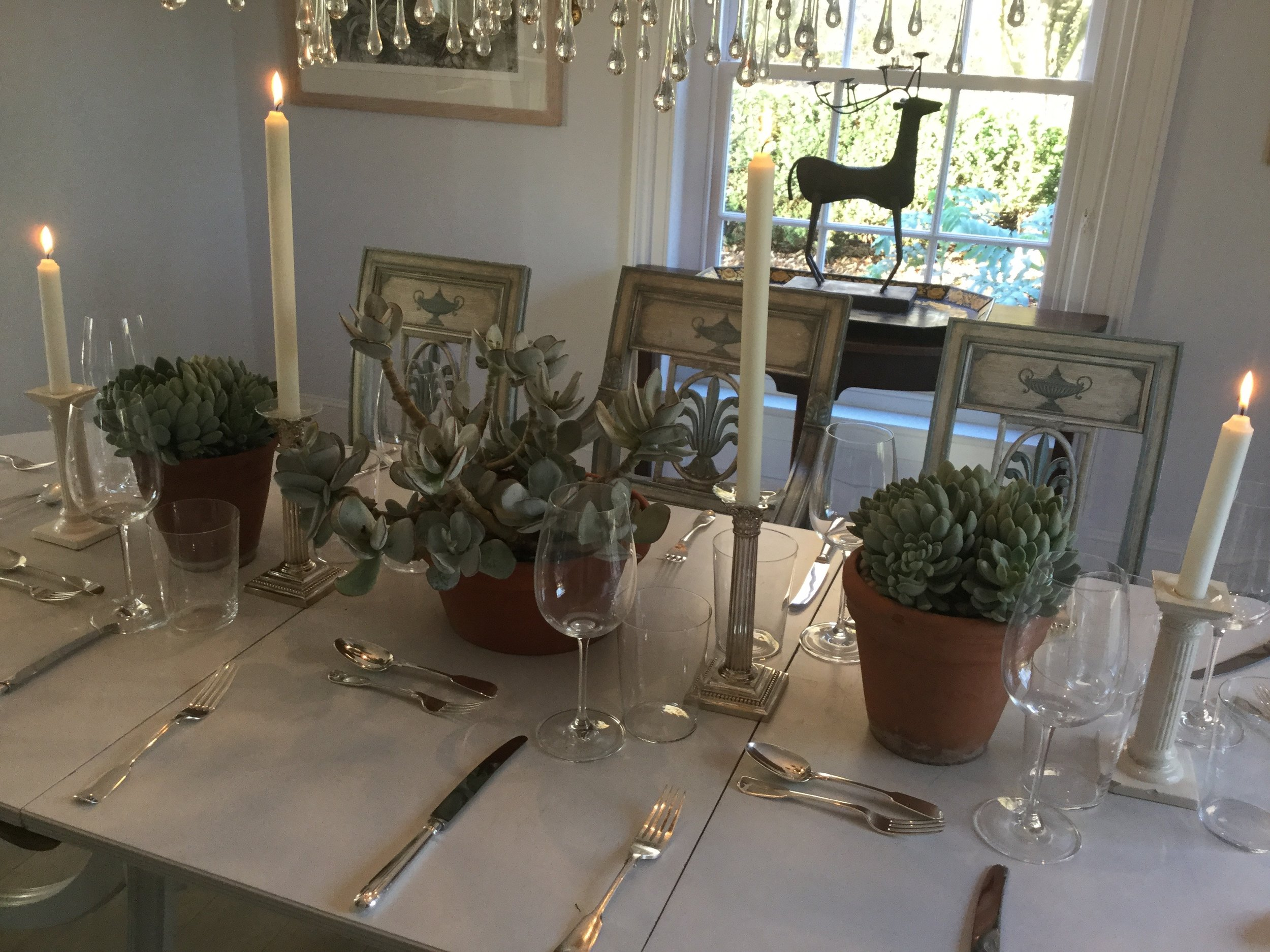succulent table arrangements, east bergholt