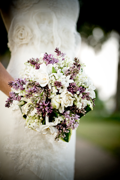 lilac, stephanotis, gardenia and lily of the valley bouquet at palmetto bluff, south carolina, usa