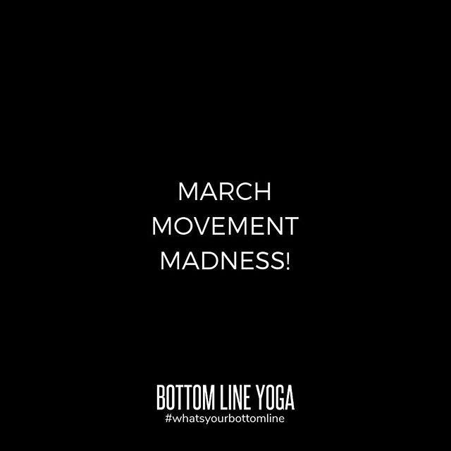 Set your movement goals for March! This month the individual with the most classes will receive a month of  free classes! You still have 26 days to move, so come join us. 🤸🏼‍♂️ If you're new to the studio, check out our New Student Special, a month of unlimited yoga for $59!  #marchmovementmadnesschallenge  #march2019 #yoga #yogaeverydamnday #whatsyourbottomline #bottomlineyoga #mybottomline #beyourbestself #getmoving #yogachicago #chicagoyoga #chicagoyogacommunity #chicagoyogastudios #chicagoloop #yogaintheloop